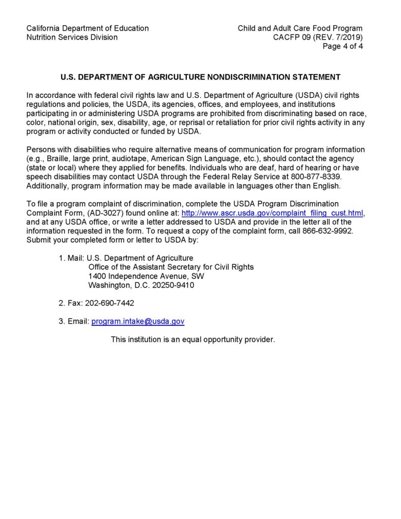 Wonderland Preschool CACFP - Letter to Parents (Nonpricing Program) 2020