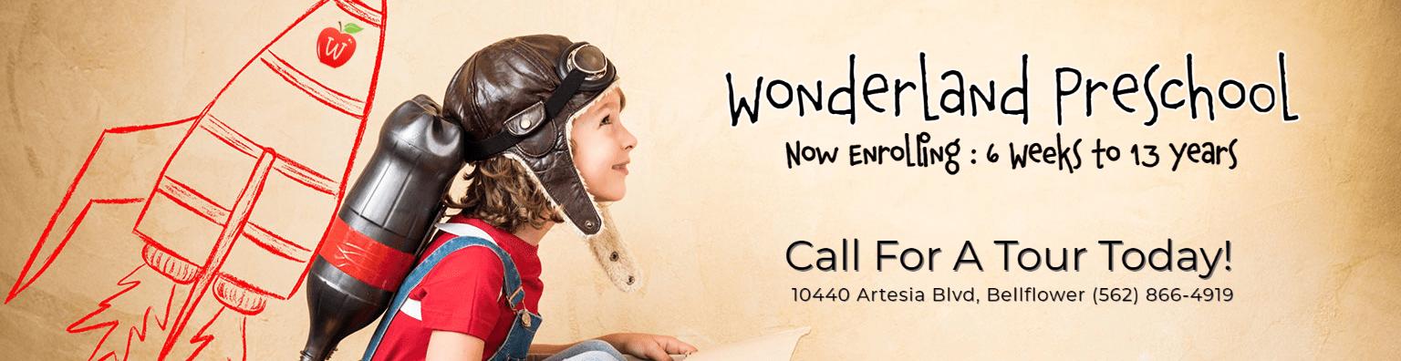 Wonderland Preschool - Now Enrolling Banner